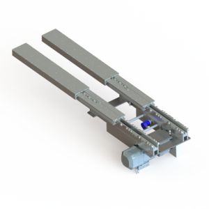 Telescopic fork for automated storage systems